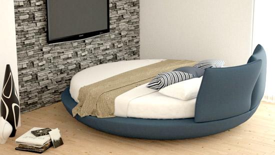 Rundbett Doppelbett Kopfteil Kunstleder Blau